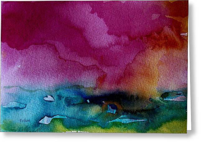 Wet Into Wet Watercolor Greeting Cards - Watercolor Sea Expression 2  4-24-12 julianne felton Greeting Card by Julianne Felton