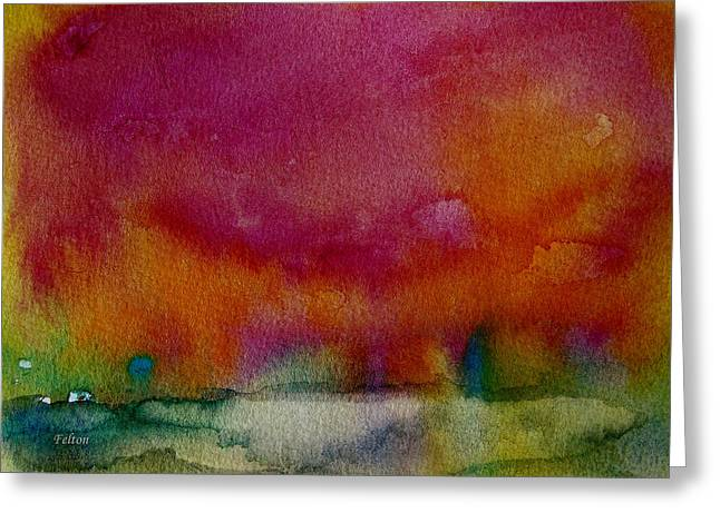 Wet Into Wet Watercolor Greeting Cards - Watercolor Sea Expression I 4-24-12 julianne felton Greeting Card by Julianne Felton
