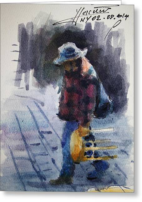 Walking Drawings Greeting Cards - Watercolor Sketch Greeting Card by Ylli Haruni