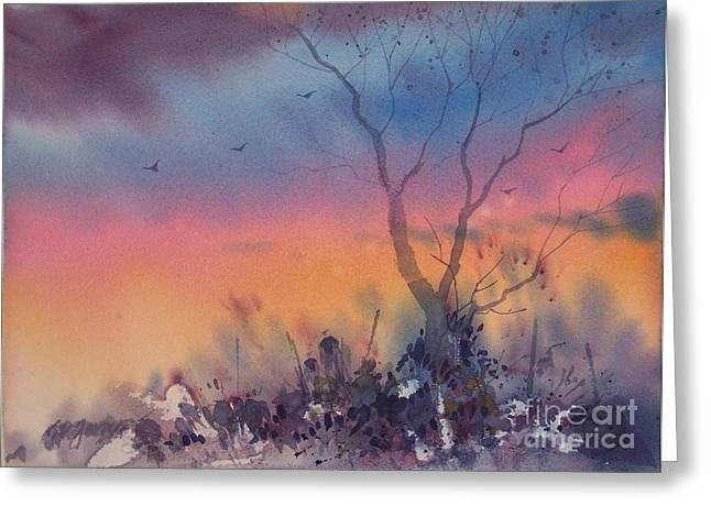 Watercolor Sunset Greeting Card by Micheal Jones