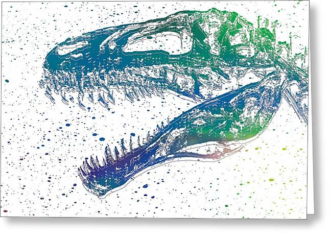 Trex Greeting Cards - Watercolor T Rex Greeting Card by Dan Sproul