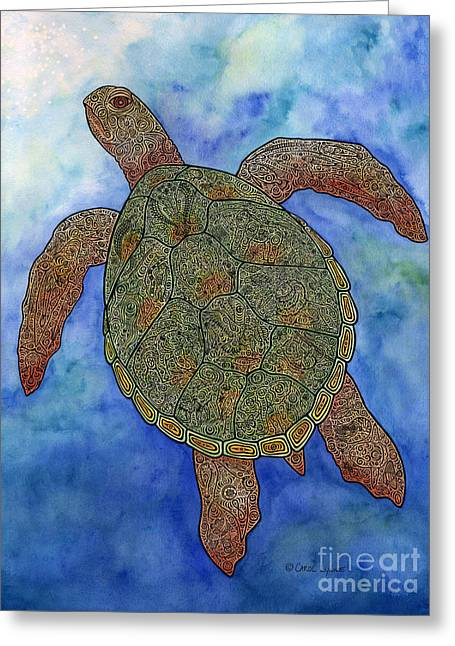 Sea Life Mixed Media Greeting Cards - Watercolor Tribal Turtle  Greeting Card by Carol Lynne