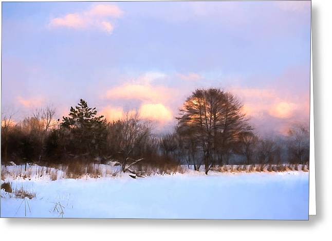 Beige Abstract Greeting Cards - Watercolor Winter - Cold and Colorful Day on the Lake Greeting Card by Georgia Mizuleva