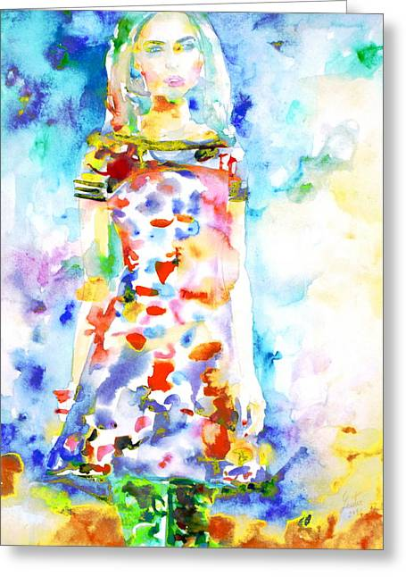 Full Skirt Greeting Cards - Watercolor Woman.18 Greeting Card by Fabrizio Cassetta