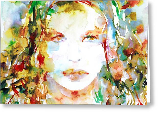 Curled Hair Greeting Cards - Watercolor Woman.23 Greeting Card by Fabrizio Cassetta