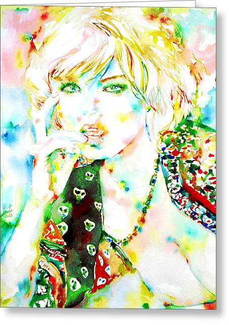 Gold Necklace Paintings Greeting Cards - Watercolor Woman.3 Greeting Card by Fabrizio Cassetta