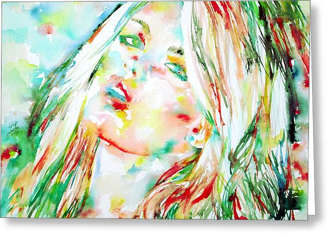 Blond Hair Greeting Cards - Watercolor Woman.4 Greeting Card by Fabrizio Cassetta