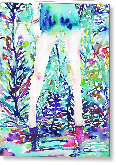 Reflex Greeting Cards - Watercolor Woman.48 Greeting Card by Fabrizio Cassetta