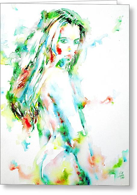 Female Body Greeting Cards - Watercolor Woman.7 Greeting Card by Fabrizio Cassetta