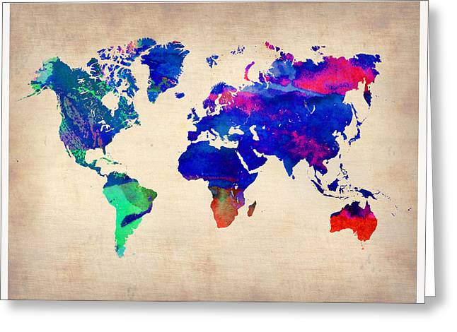 Atlas Greeting Cards - Watercolor World Map 1 Greeting Card by Naxart Studio