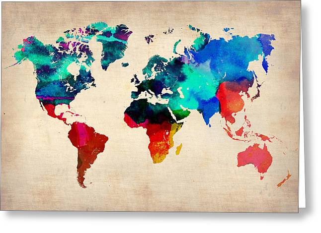 Atlas Greeting Cards - Watercolor World Map 3 Greeting Card by Naxart Studio