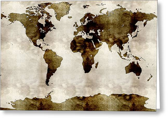 World Map Print Paintings Greeting Cards - Watercolor World Map Greeting Card by Celestial Images