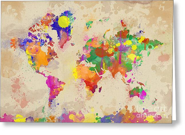 Famouse Greeting Cards - Watercolor World Map on Old Canvas Greeting Card by Zaira Dzhaubaeva