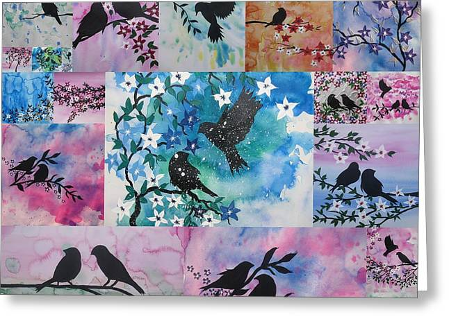 Nana Greeting Cards - Watercolour Birds Greeting Card by Cathy Jacobs