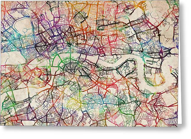 England Map Greeting Cards - Watercolour Map of London Greeting Card by Michael Tompsett
