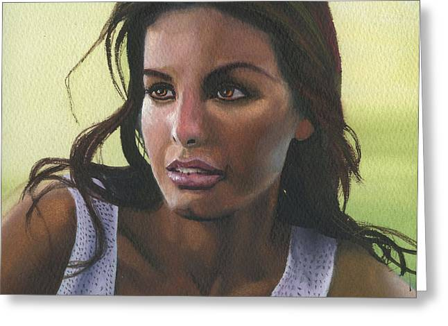 Kd Greeting Cards - Watercolour Portrait Greeting Card by Kd Neeley