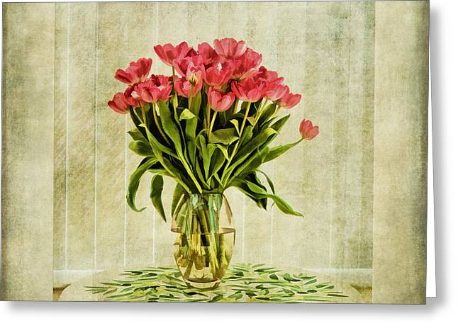 Close Focus Floral Greeting Cards - Watercolour Tulips Greeting Card by John Edwards