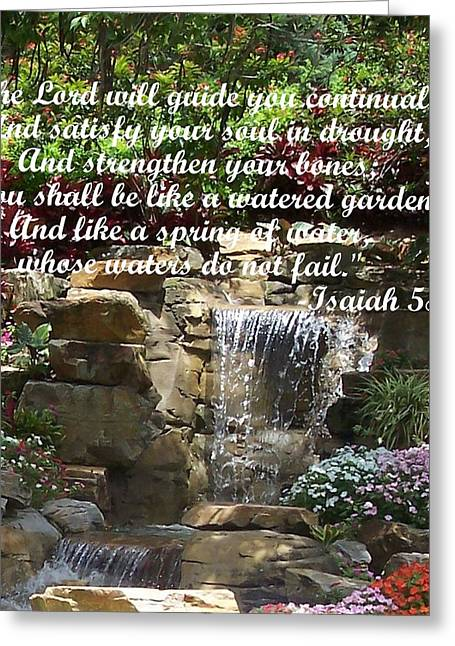Book Of Isaiah Greeting Cards - Watered Garden Greeting Card by Pharris Art