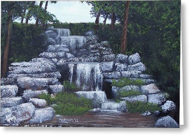 Pallet Knife Greeting Cards - Waterfall at Forest Park Greeting Card by John Marcum