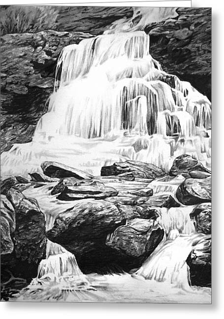 White River Drawings Greeting Cards - Waterfall Greeting Card by Aaron Spong