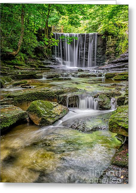 Wrexham Greeting Cards - Waterfall Greeting Card by Adrian Evans