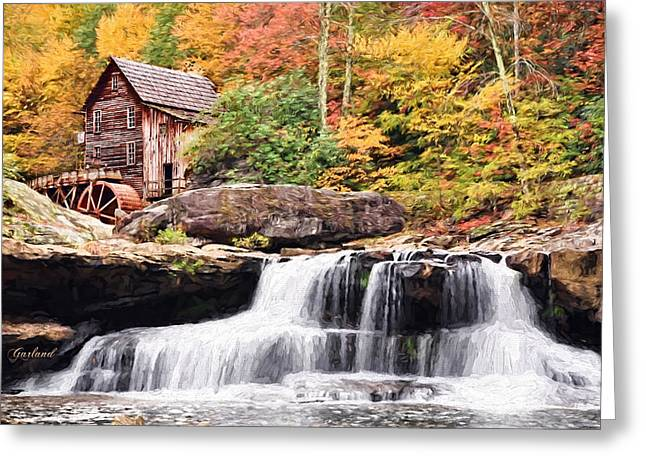 Grist Mill Mixed Media Greeting Cards - Waterfall And Gristmill.  Greeting Card by Garland Johnson