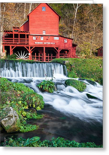 Grist Mill Greeting Cards - Waterfall and Hodgson Mill - Missouri Greeting Card by Gregory Ballos
