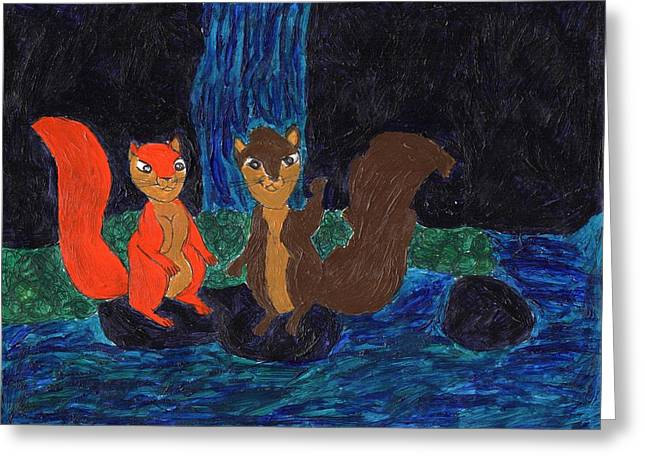 Squirrel Drawings Greeting Cards - Waterfall and squirrel lovers Greeting Card by Frances Garry