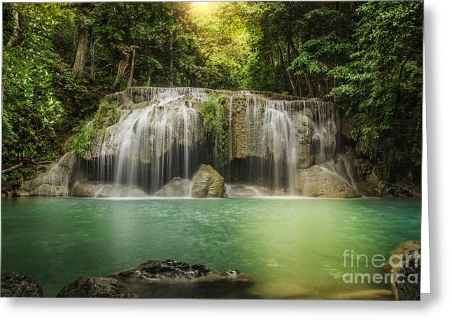Amazing Sunset Greeting Cards - Waterfall  Greeting Card by Anek Suwannaphoom