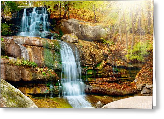 Forest Pyrography Greeting Cards - Waterfall art Greeting Card by Boon Mee