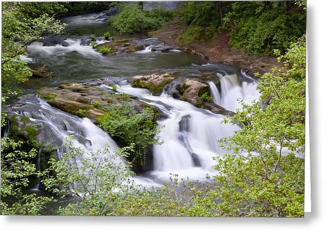 Waterfalls Pyrography Greeting Cards - Waterfall Greeting Card by Artjom Jatskovski