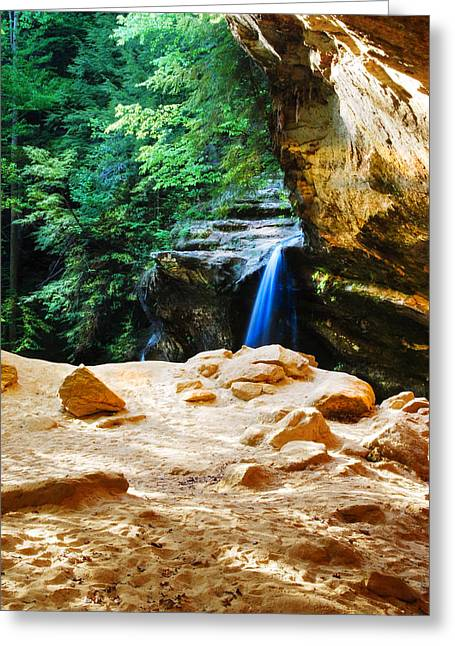Waterfall At Cliff Side Greeting Card by Optical Playground By MP Ray