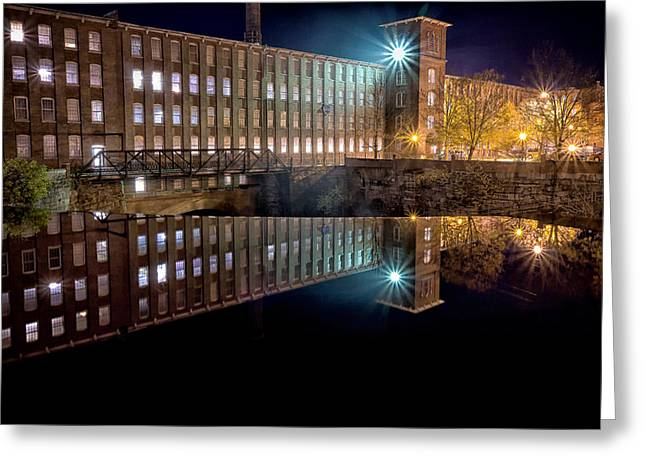 Hdr Look Greeting Cards - Waterfall At The Cocheco Mill At Night Greeting Card by Jeff Sinon