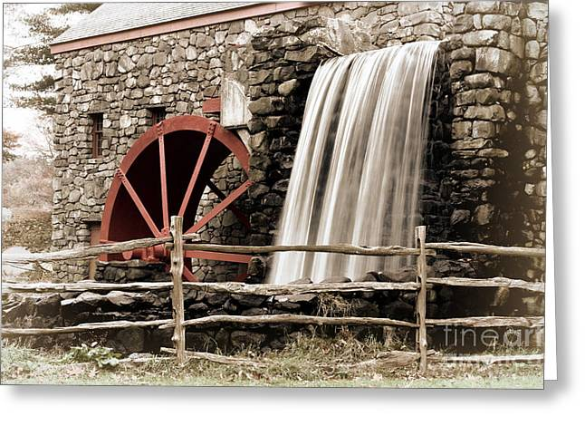 Sudbury Ma Digital Art Greeting Cards - Waterfall at the Mill Greeting Card by Jayne Carney