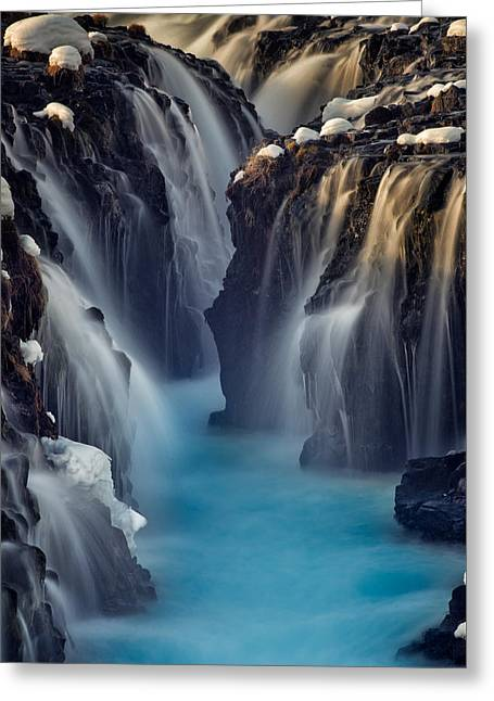 Waterfall Blues Greeting Card by Mike Berenson