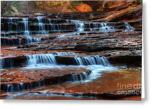 Canadian Photographers Greeting Cards - Waterfall Cascade North Creek Greeting Card by Bob Christopher