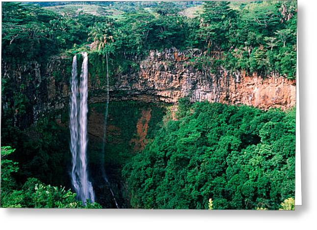 Mauritius Greeting Cards - Waterfall, Chamarel Waterfall Greeting Card by Panoramic Images