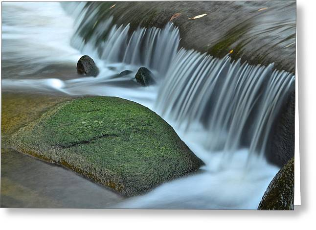 Moss Green Greeting Cards - Waterfall Close Up Greeting Card by Frozen in Time Fine Art Photography