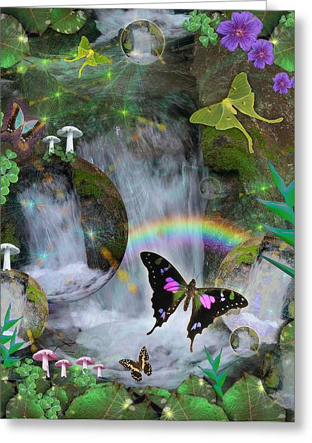 Imagination Greeting Cards - Waterfall Daydream Greeting Card by Alixandra Mullins