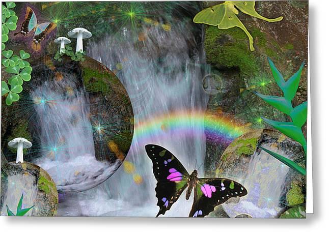 Waterfall Daydream Greeting Card by Alixandra Mullins