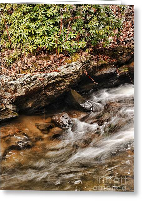 Waterfall Greeting Cards - Waterfall detail Greeting Card by HD Connelly