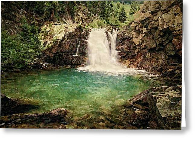 Stream Digital Greeting Cards - Waterfall Dreaming Greeting Card by Priscilla Burgers