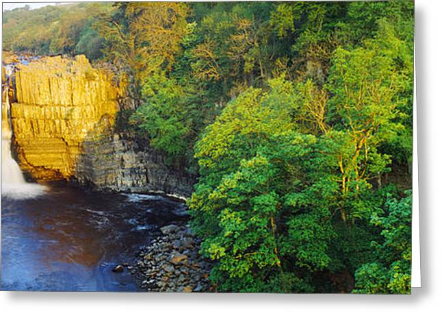 Waterfall Photography Greeting Cards - Waterfall In A Forest, High Force Greeting Card by Panoramic Images