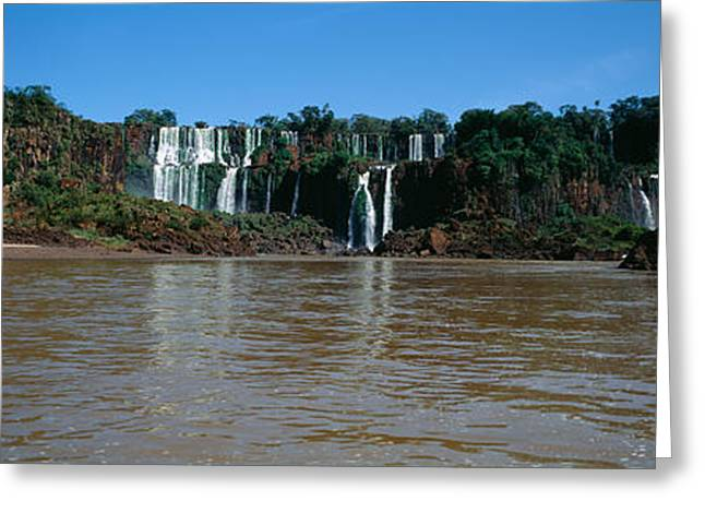 Fall Scenes Greeting Cards - Waterfall In A Forest, Iguacu Falls Greeting Card by Panoramic Images