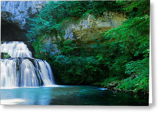 Reflections In River Greeting Cards - Waterfall In A Forest, Lison River Greeting Card by Panoramic Images