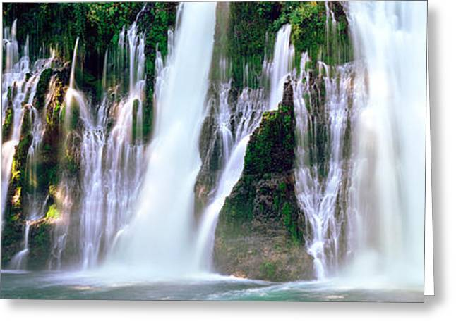 Macarthur Greeting Cards - Waterfall In A Forest, Mcarthur-burney Greeting Card by Panoramic Images