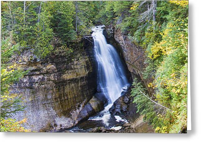 Non Urban Scene Greeting Cards - Waterfall In A Forest, Miners Falls Greeting Card by Panoramic Images