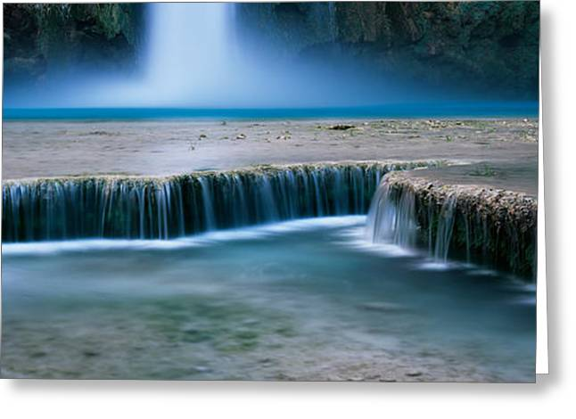 Fall Scenes Greeting Cards - Waterfall In A Forest, Mooney Falls Greeting Card by Panoramic Images