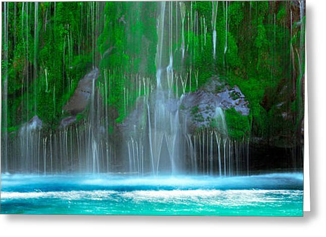 Siskiyou County Greeting Cards - Waterfall In A Forest, Mossbrae Falls Greeting Card by Panoramic Images