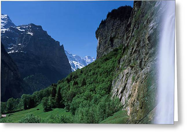 Berne Canton Greeting Cards - Waterfall In A Forest, Staubbach Falls Greeting Card by Panoramic Images